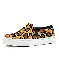 Brown leopard pony hair slip on trainers
