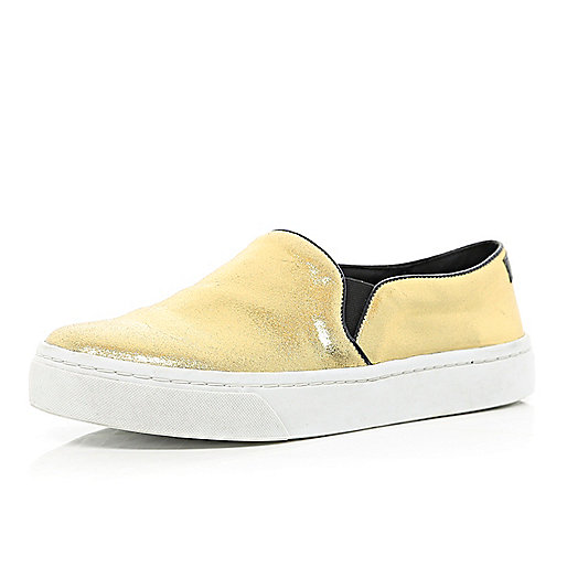 Gold metallic chunky sole slip on trainers