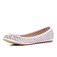Light purple laser cut ballet pumps