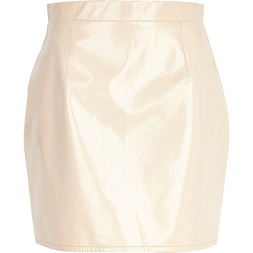 Cream high shine mini skirt