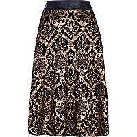 Black flocked baroque midi skirt