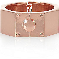 Rose gold tone hexagon bangle