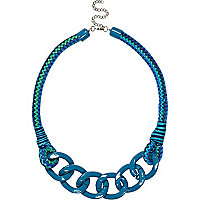 Blue bungee cord curb chain necklace