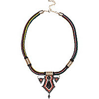 Black woven tribal statement necklace