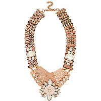 Rose gold tone statement necklace