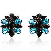 Black and blue gem stone stud earrings