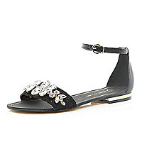Black gem stone two-strap sandals