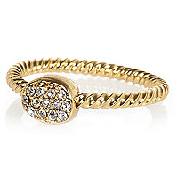 Gold plated diamante pave ring