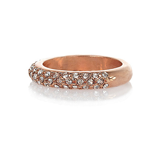 Rose gold plated diamante pave ring