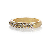 Gold plated diamante pave band ring