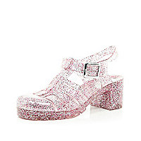 Pink glitter block heel jelly shoes