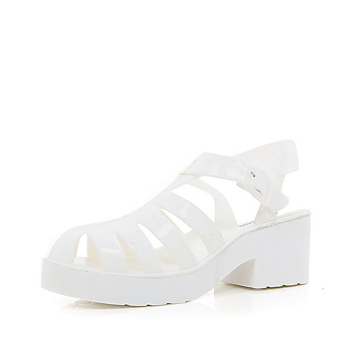 White block heel jelly sandals