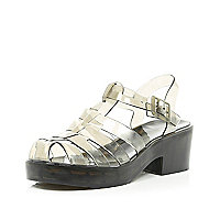 Black transparent block heel jelly sandals
