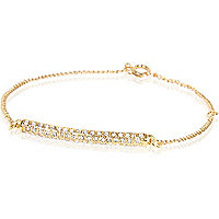 Gold plated diamante pave bar bracelet