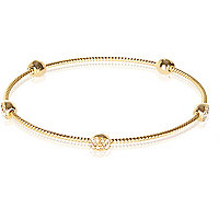 Gold plated pave stone bangle