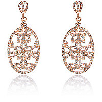 Rose gold plated diamante drop earrings
