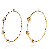 Gold plated pave stone hoop earrings