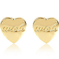 Gold plated wish heart stud earrings