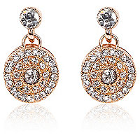 Rose gold plated diamante disc drop earrings