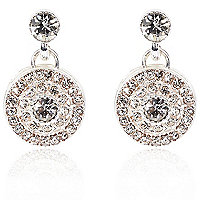 Silver plated diamante disc drop earrings