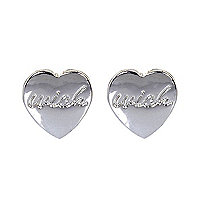 Silver plated wish heart stud earrings