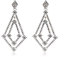 Silver plated diamante drop earrings