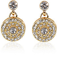 Gold plated diamante disc drop earrings