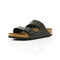 Black Birkenstock double strap mule sandals