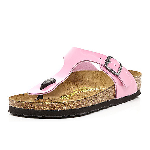 Pink Birkenstock T bar mule sandals