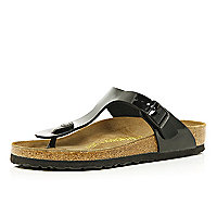 Black Birkenstock patent T bar mule sandals