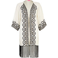 Cream embroidered fringed kimono