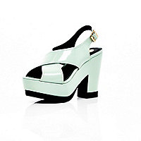 Mint green patent cross strap platforms