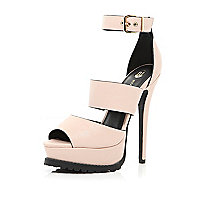 Light pink cleated sole platform sandals