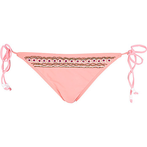 Pink embellished tie side bikini bottoms