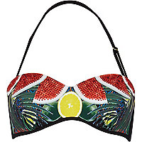 Red watermelon print balconette bikini top