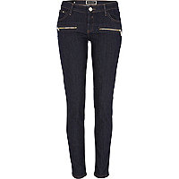 Dark wash low rise superskinny jeans