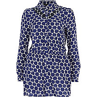 Blue spot print cut out playsuit