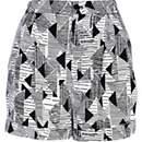 Black geometric print high waisted shorts