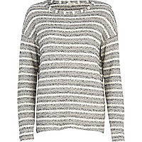 Grey stripe slouchy jumper