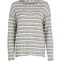 Grey stripe slouchy jumper