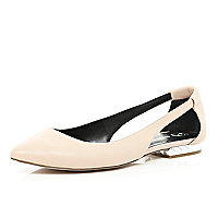 Light pink cut out pointed ballet pumps