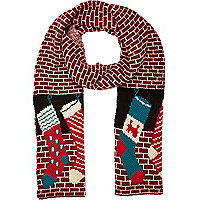Red Christmas stocking scarf