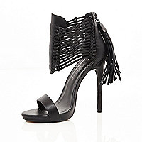 Black strappy tassel platforms