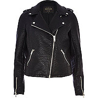 Black textured biker jacket