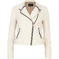 Cream snake textured zip collar biker jacket