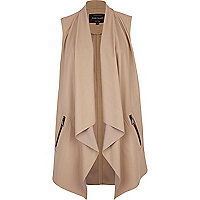 Beige leather-look waterfall gilet