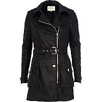 Black leather-look biker trench coat