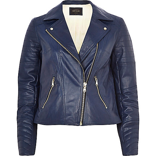 Navy leather biker jacket