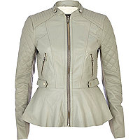 Light grey peplum leather jacket