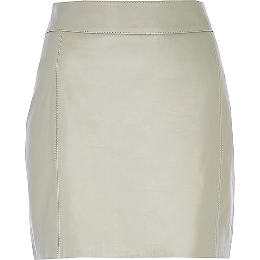Light grey leather high waisted skirt